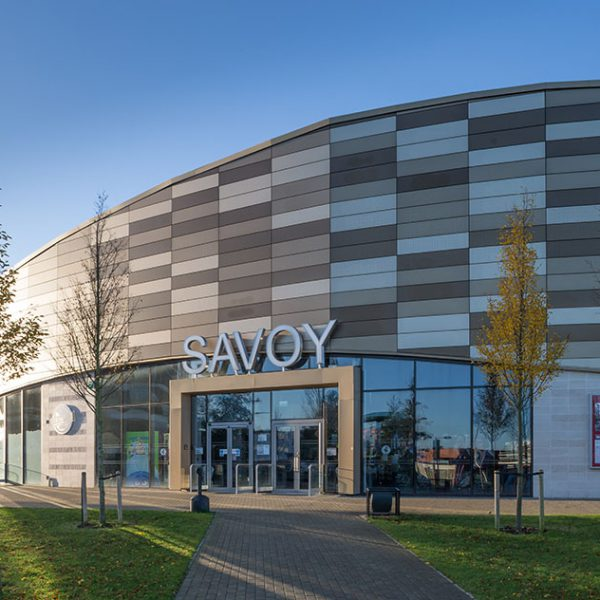 Savoy cinema Corby metal panels